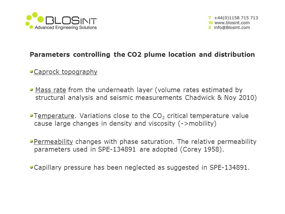 Parameters controlling the CO2 plume location and distribution