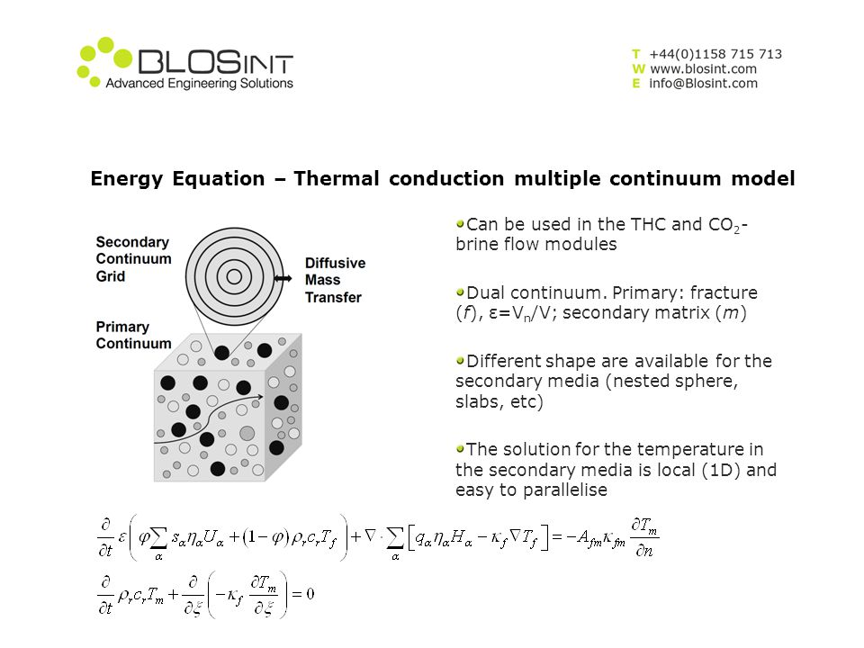 Energy Equation – Thermal conduction multiple continuum model