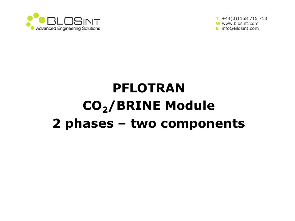 PFLOTRAN CO2/BRINE Module 2 phases – two components