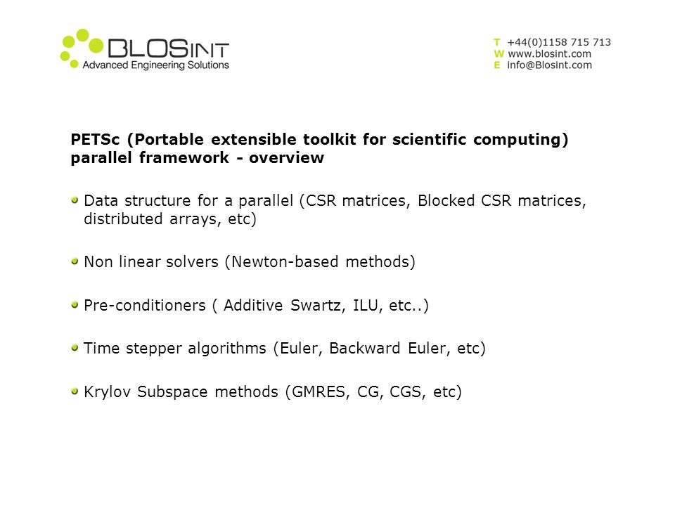 PETSc (Portable extensible toolkit for scientific computing) parallel framework - overview