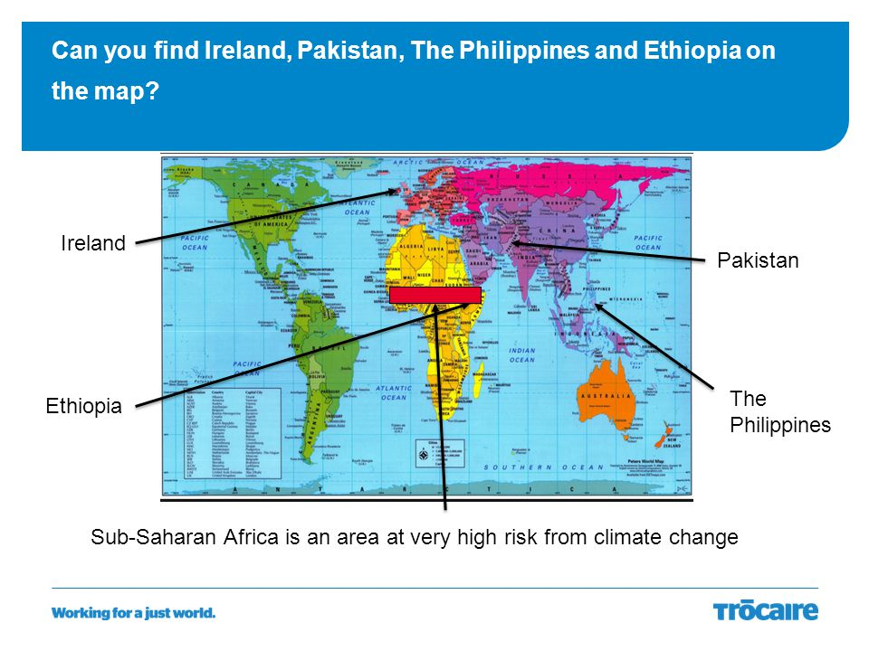 Can you find Ireland, Pakistan, The Philippines and Ethiopia on the map