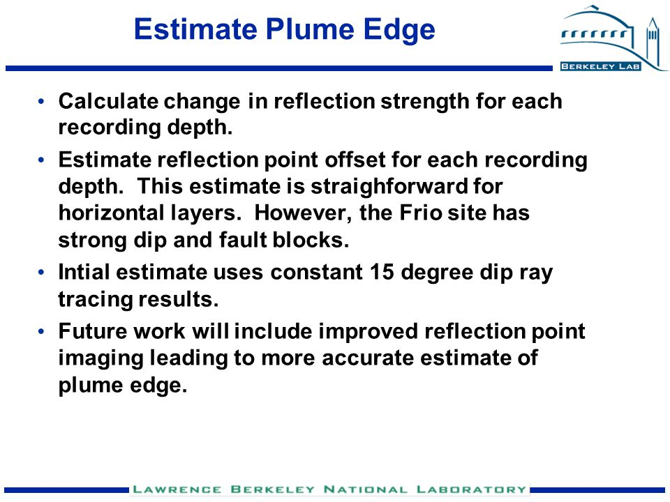 Estimate Plume Edge Calculate change in reflection strength for each recording depth.
