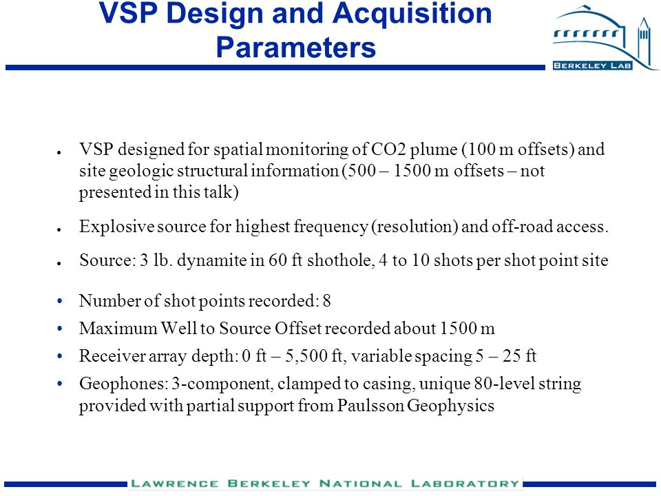 VSP Design and Acquisition Parameters