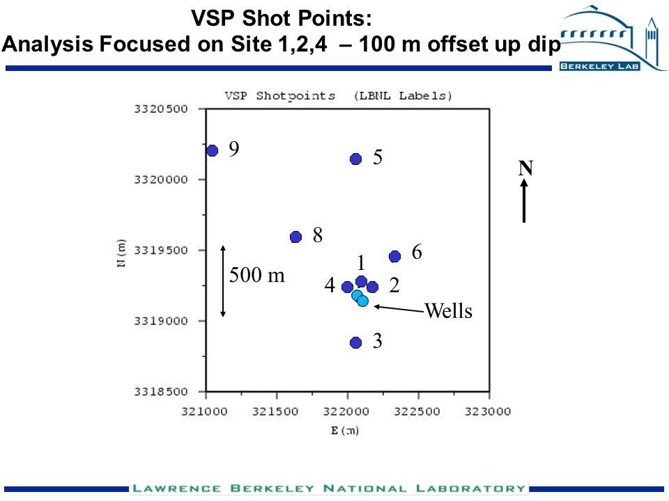 VSP Shot Points: Analysis Focused on Site 1,2,4 – 100 m offset up dip