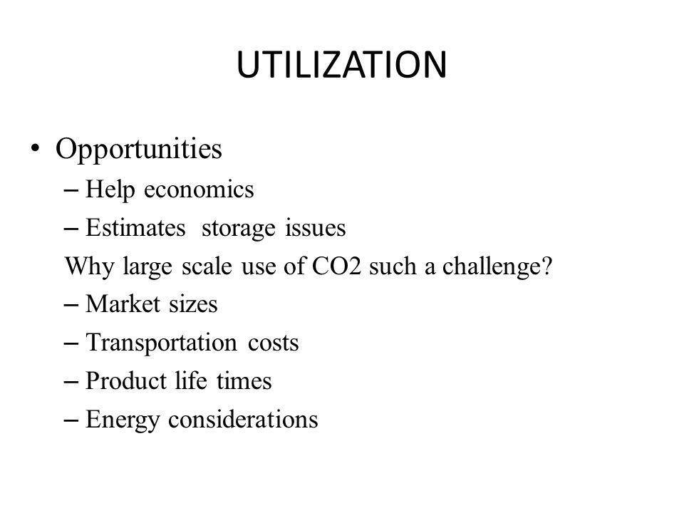 UTILIZATION Opportunities Help economics Estimates storage issues
