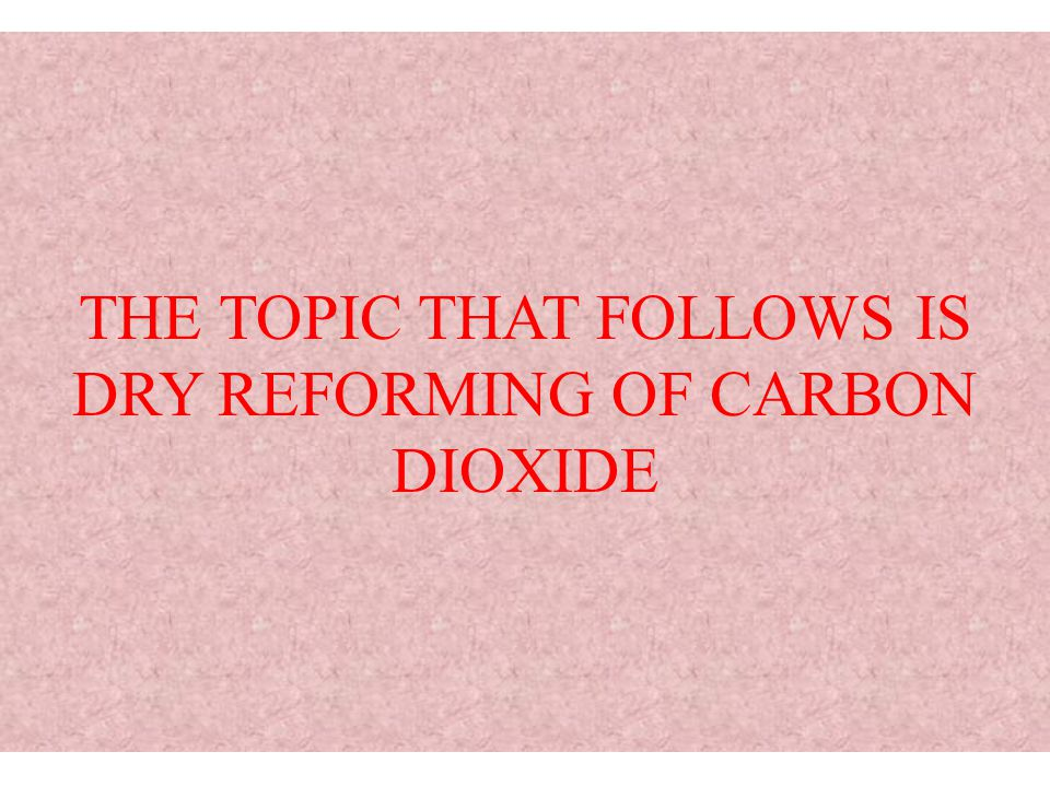 THE TOPIC THAT FOLLOWS IS DRY REFORMING OF CARBON DIOXIDE