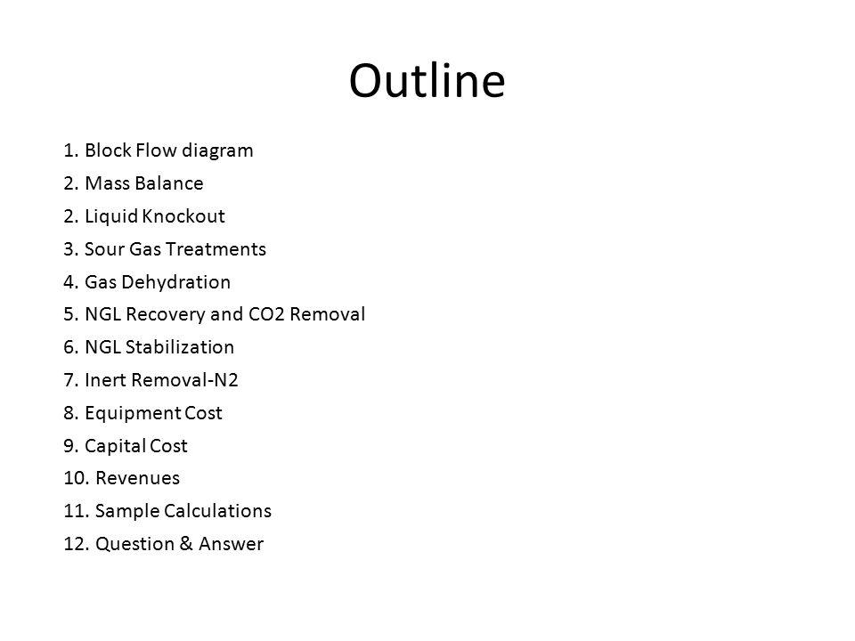 Outline 1. Block Flow diagram 2. Mass Balance 2. Liquid Knockout