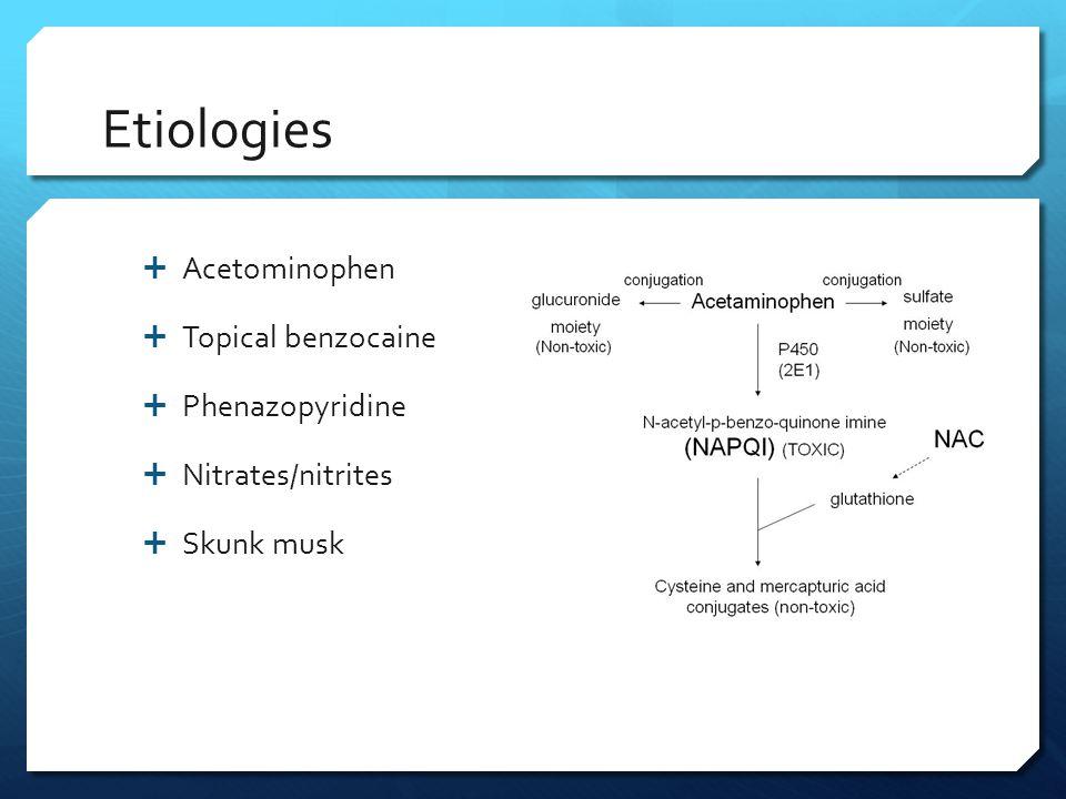 Etiologies Acetominophen Topical benzocaine Phenazopyridine