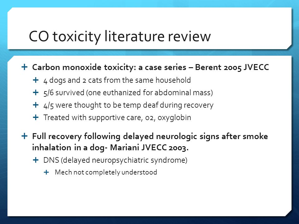 CO toxicity literature review