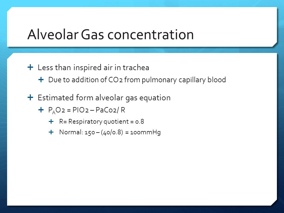 Alveolar Gas concentration