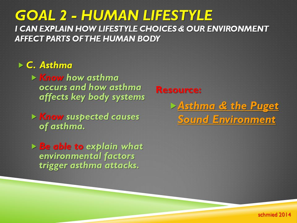 Goal 2 - Human Lifestyle I can explain how lifestyle choices & our environment affect parts of the human body