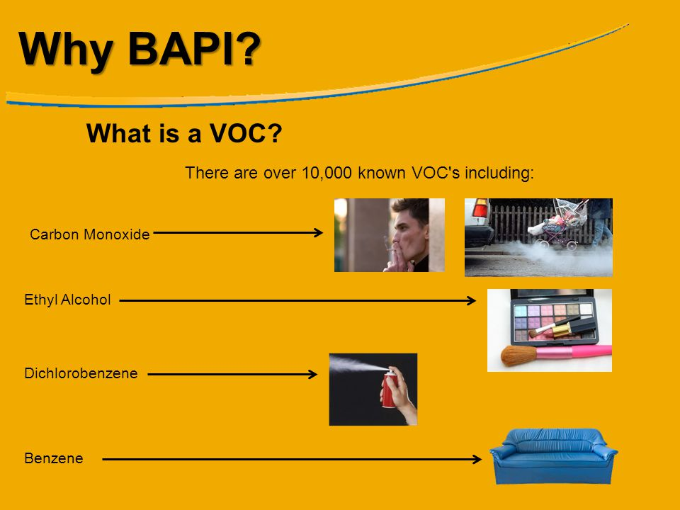 Why BAPI What is a VOC There are over 10,000 known VOC s including:
