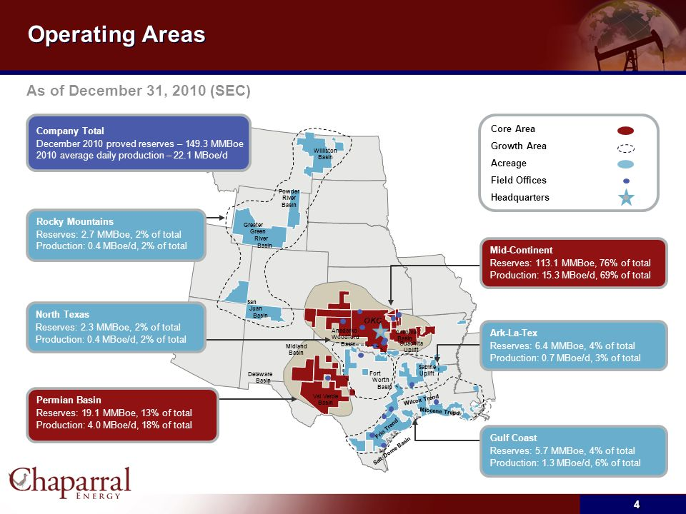 Operating Areas As of December 31, 2010 (SEC) 4 Company Total