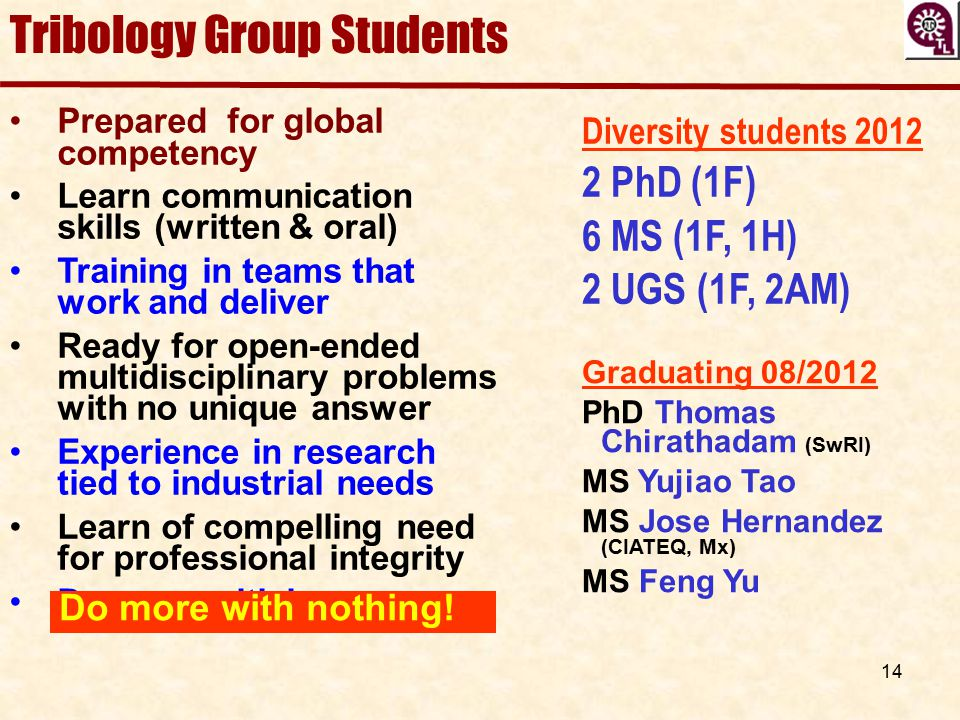 Tribology Group Students