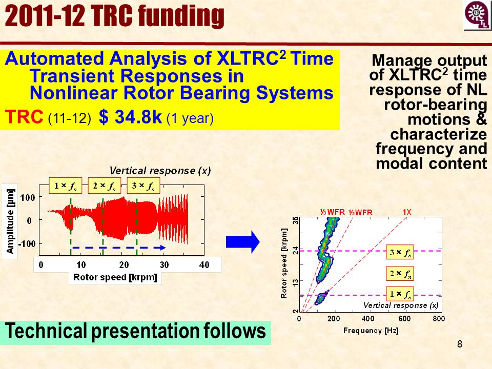 2011-12 TRC funding Technical presentation follows