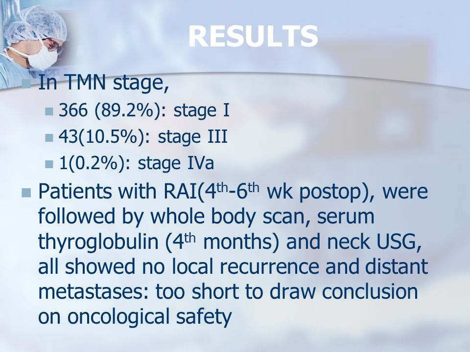 RESULTS In TMN stage, 366 (89.2%): stage I. 43(10.5%): stage III. 1(0.2%): stage IVa.