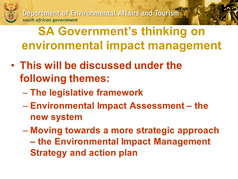 SA Government's thinking on environmental impact management