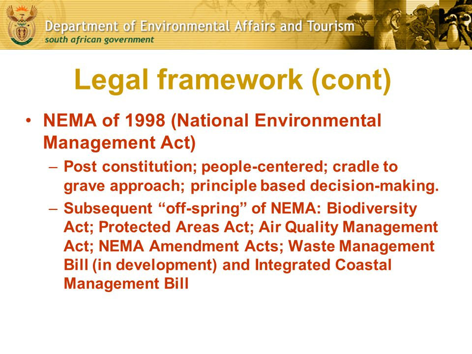 Legal framework (cont)