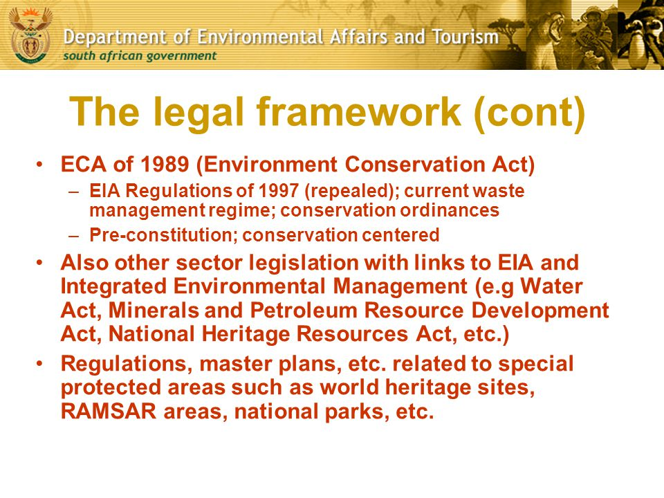 The legal framework (cont)