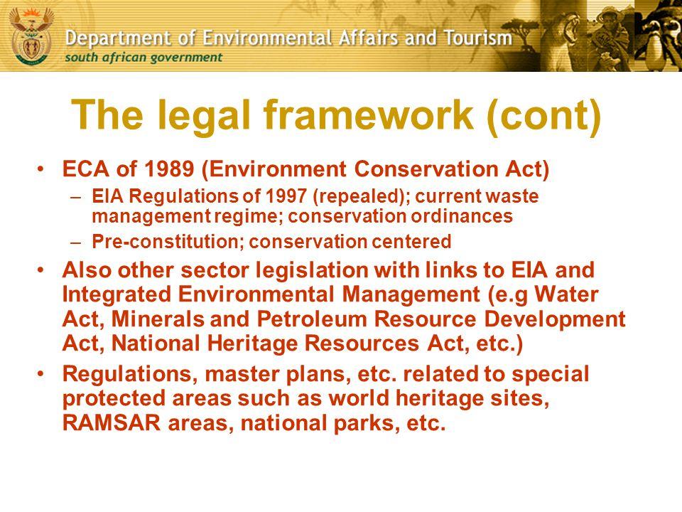 The legal framework (cont)