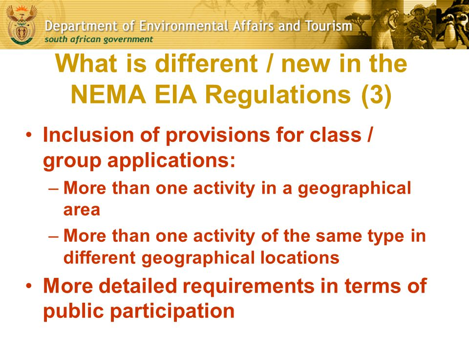 What is different / new in the NEMA EIA Regulations (3)