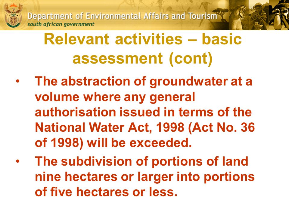 Relevant activities – basic assessment (cont)
