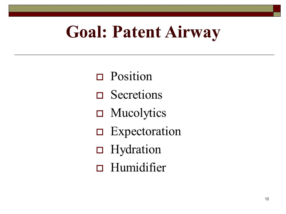 Goal: Patent Airway Position Secretions Mucolytics Expectoration