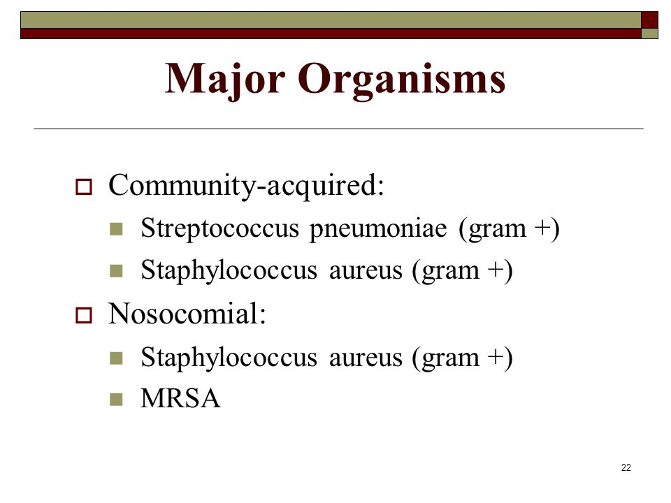 Major Organisms Community-acquired: Nosocomial:
