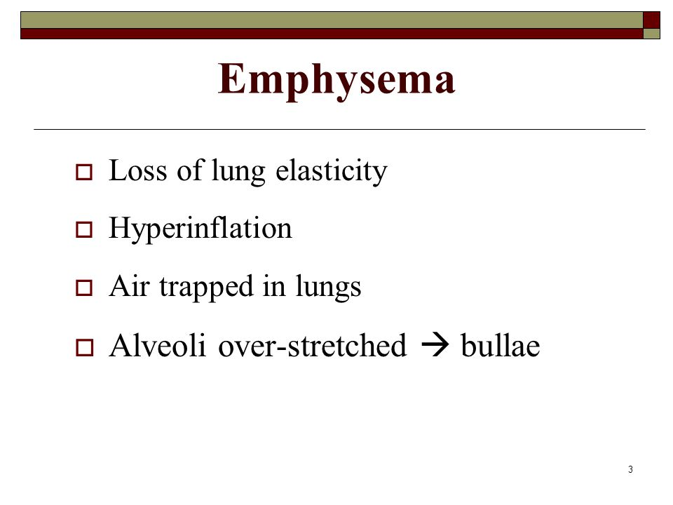 Emphysema Alveoli over-stretched  bullae Loss of lung elasticity