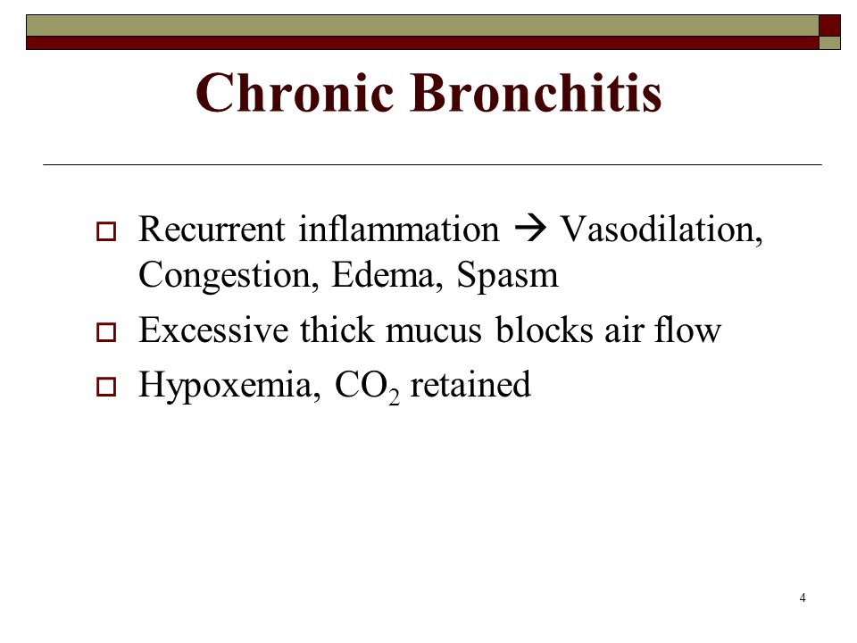 Chronic Bronchitis Recurrent inflammation  Vasodilation, Congestion, Edema, Spasm. Excessive thick mucus blocks air flow.