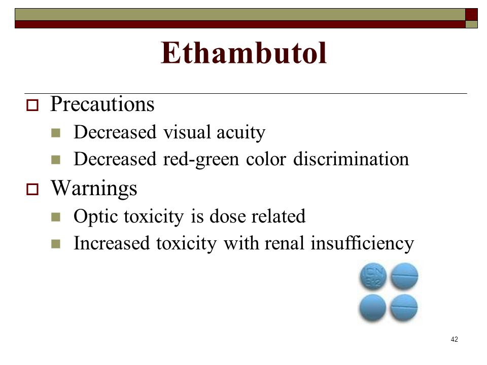 Ethambutol Precautions Warnings Decreased visual acuity