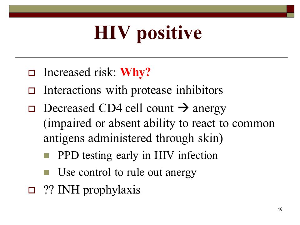 HIV positive Increased risk: Why
