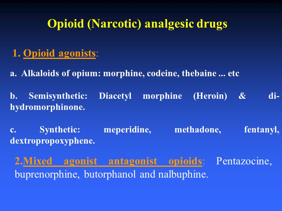 Opioid (Narcotic) analgesic drugs