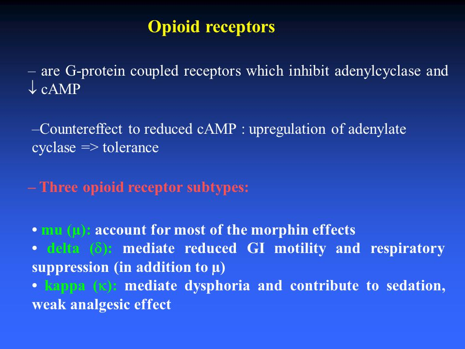Opioid receptors – are G-protein coupled receptors which inhibit adenylcyclase and  cAMP.