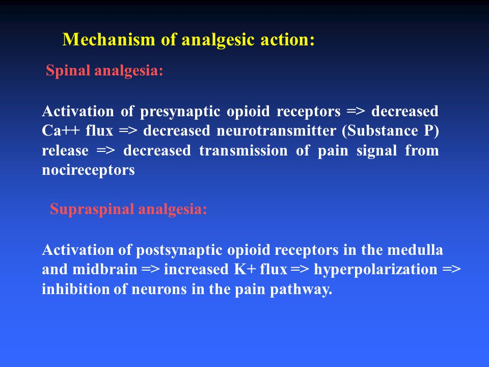 Mechanism of analgesic action: