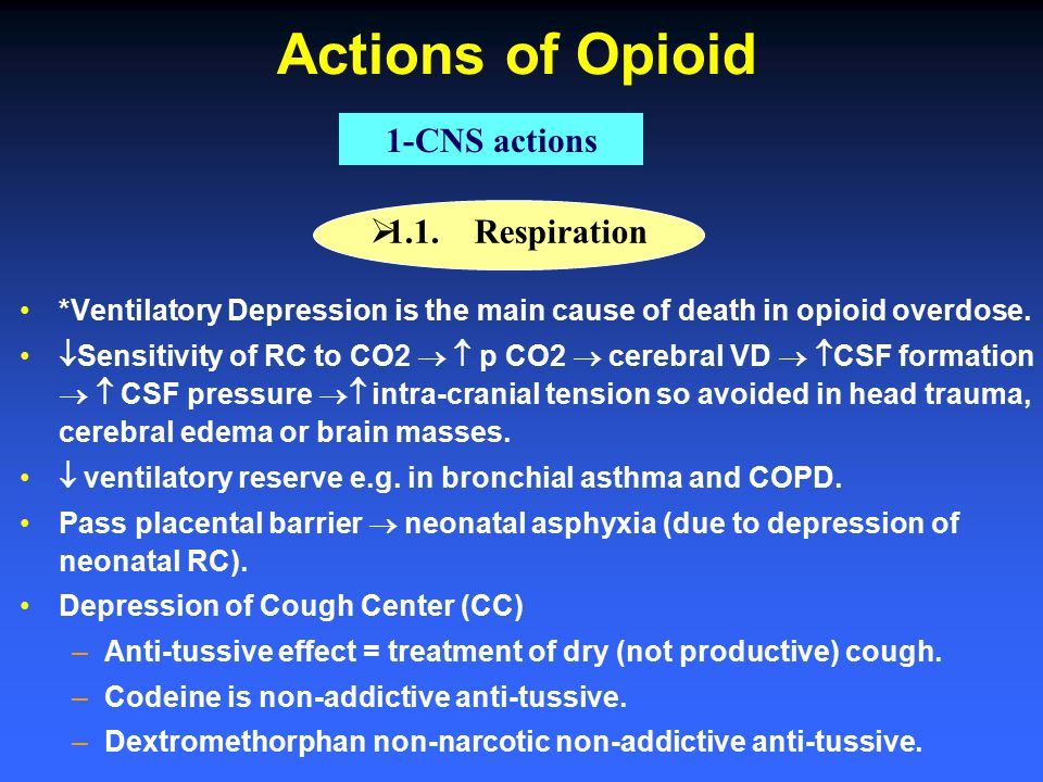 Actions of Opioid 1-CNS actions 1.1. Respiration