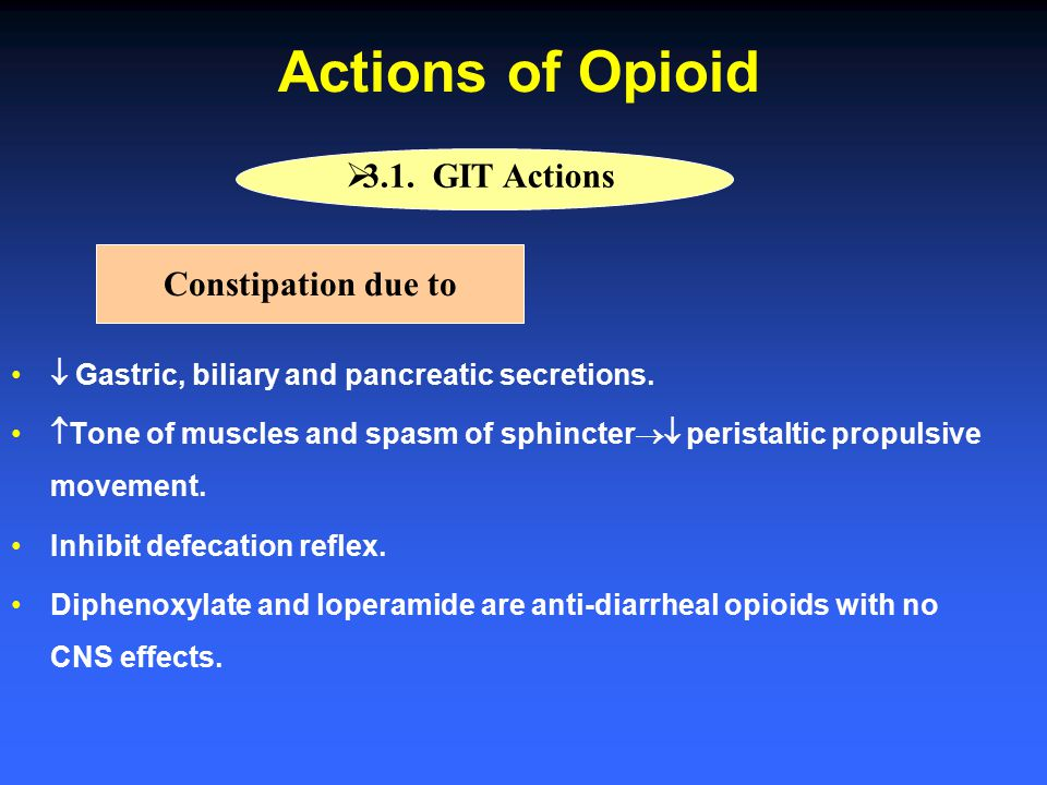 Actions of Opioid 3.1. GIT Actions Constipation due to