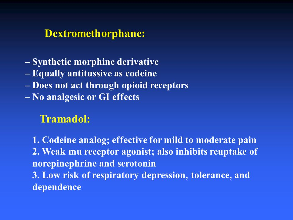 Dextromethorphane: Tramadol: – Synthetic morphine derivative