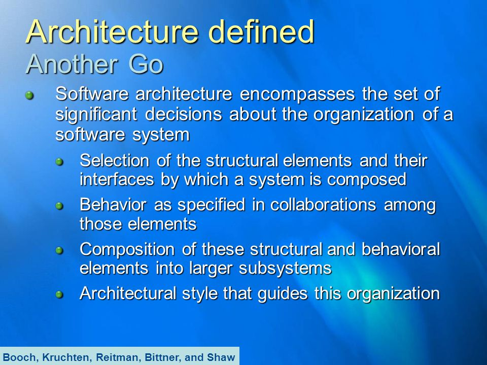 Architecture defined Another Go