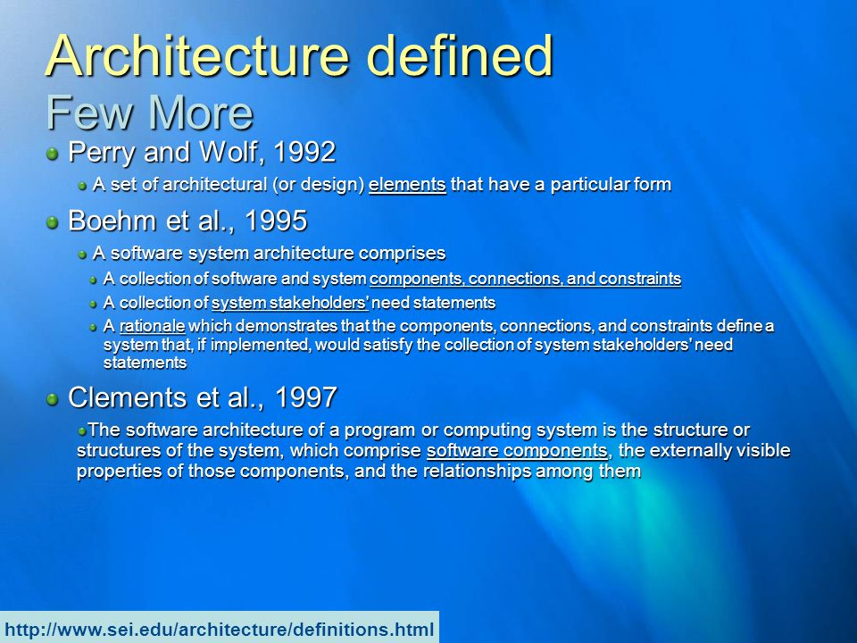 Architecture defined Few More