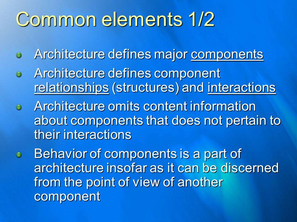 Common elements 1/2 Architecture defines major components