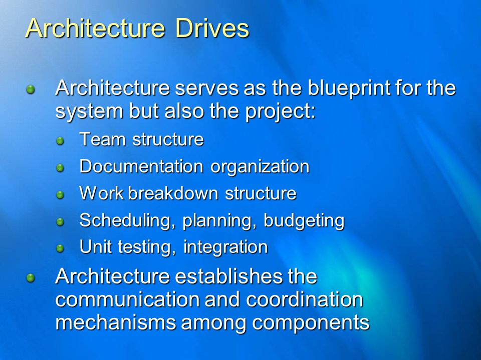 Architecture DrivesArchitecture serves as the blueprint for the system but also the project: Team structure.