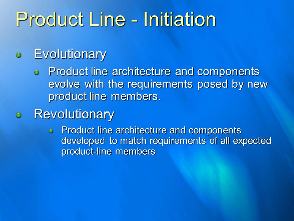 Product Line - Initiation