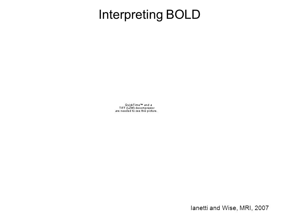 Interpreting BOLD Ianetti and Wise, MRI, 2007