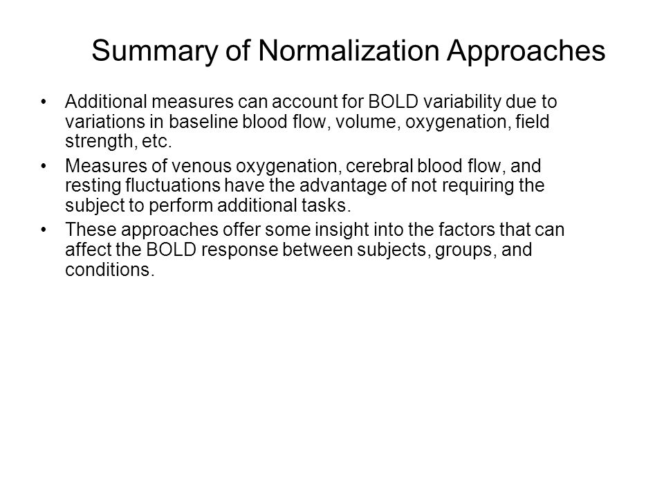 Summary of Normalization Approaches