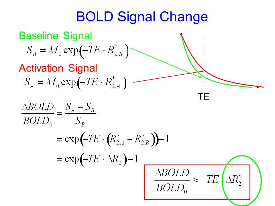 BOLD Signal Change Baseline Signal TE Activation Signal