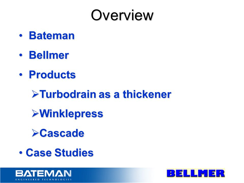Overview Bateman Bellmer Products Turbodrain as a thickener