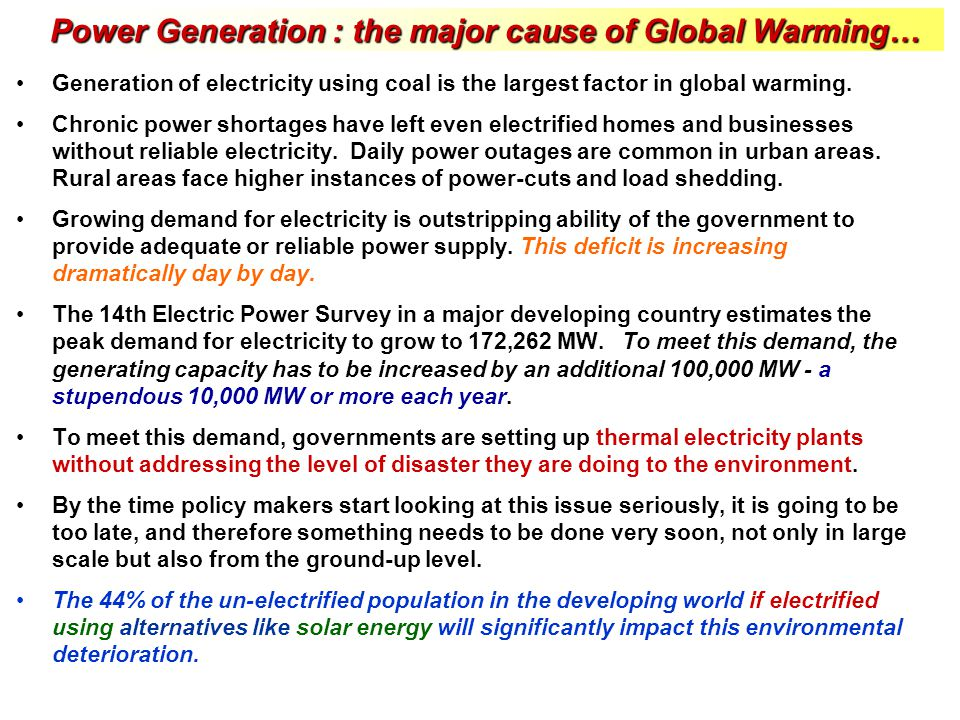 Power Generation : the major cause of Global Warming…