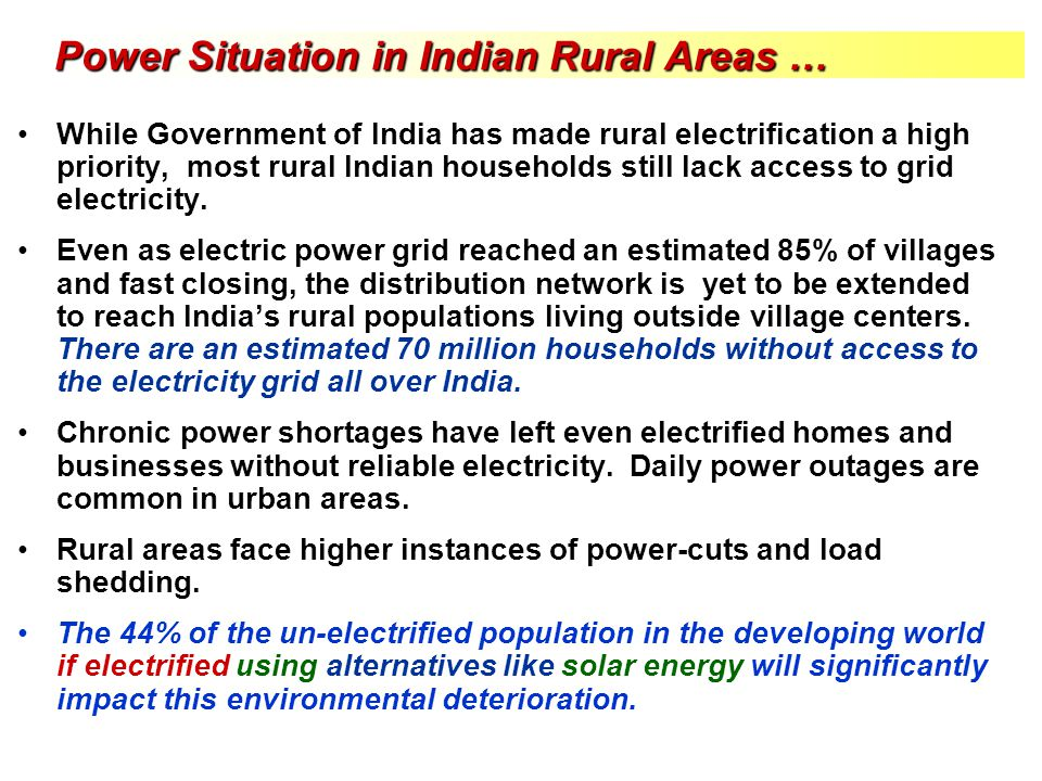 Power Situation in Indian Rural Areas …