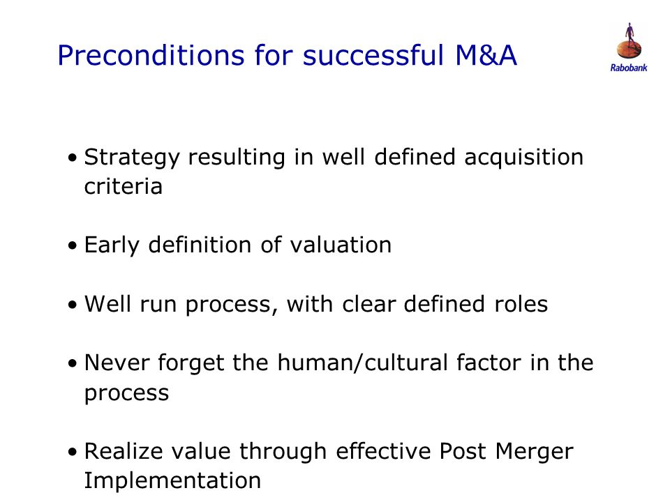 Preconditions for successful M&A